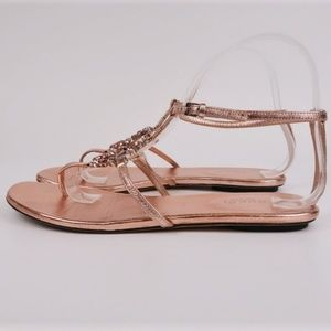 Gucci Crystal GG Thong Sandals Pink Metallic